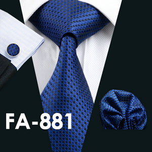 www.mensswaggerapparel.com Quick shipping low prices men's ties & bow ties  Blue Geometric Silk Neck tie Classic Tie Hanky Cufflinks Set Ties For Men Business Wedding Party