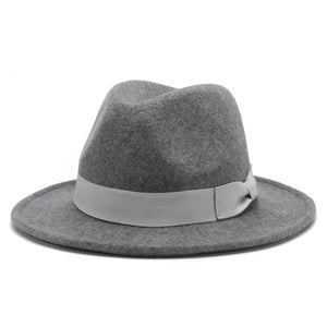 www.mensswaggerapparel.com Quick shipping low prices men's Hat's Autumn Winter Wool Casual Bow-knot Felt Hat  Mix Gray