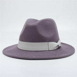 www.mensswaggerapparel.com Quick shipping low prices men's Hat's Autumn Winter Wool Casual Bow-knot Felt Hat Gray