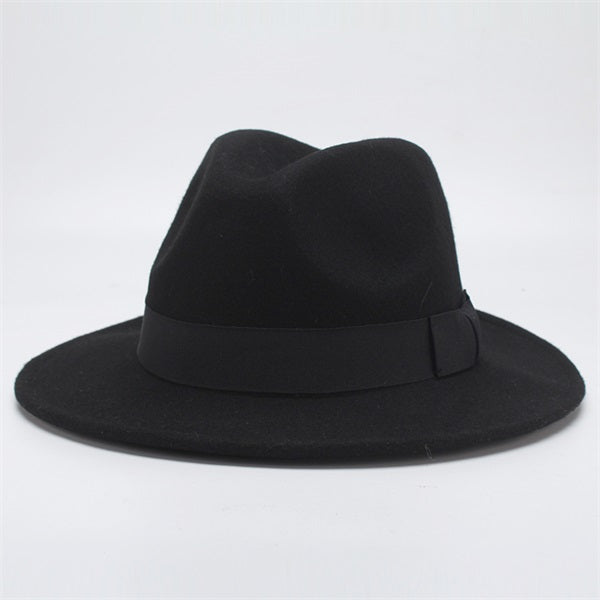 www.mensswaggerapparel.com Quick shipping low prices men's Hat's Autumn Winter Wool Casual Bow-knot Felt Hat Black