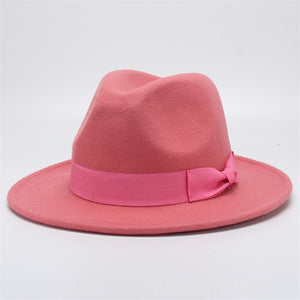 www.mensswaggerapparel.com Quick shipping low prices men's Hat's Autumn Winter Wool Casual Bow-knot Felt Hat Pink