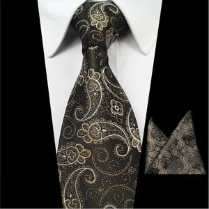 www.mensswaggerapparel.com Quick shipping low prices men's ties & bow ties  2PCS Neck Ties And Hanky Set Mens Red Tie Paisley Tie Silk Jacquard Woven Men Classic Necktie For Wedding Business Party