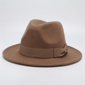 www.mensswaggerapparel.com Quick shipping low prices men's Hat's Autumn Winter Wool Casual Bow-knot Felt Hat  Camel