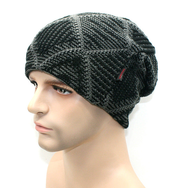 www.mensswaggerapparel.com Quick shipping low prices men's Hat'sNew brand Winter Beanies men Knitted wool hat Warm Soft Beanie Black