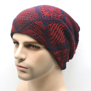 www.mensswaggerapparel.com Quick shipping low prices men's Hat'sNew brand Winter Beanies men Knitted wool hat Warm Soft Beanie Red