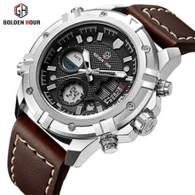 www.mensswaggerapparel.com Quick shipping low prices Men's Watches & Accessories GOLDENHOUR Top Brand Luxury Watches Men Waterproof Leather Fashion Sport Military Quartz Watch Date Relogio Masculino Male Clock