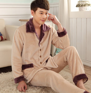 www.mensswaggerapparel.com Quick shipping low prices men's Gifts & Gadgets  Winter Pajamas Thick Fleece Pajama Sets Luxury Warm Sleepwear Plaid Suits