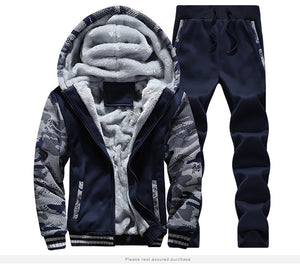 MSA Signature Envmenst Men's Tracksuit Two Pieces Sets Fur In Sleeve Thick Warm Men's Hooded Camouflage Jacket+Pants Sporting Suit