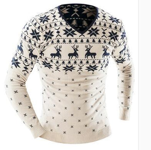 www.mensswaggerapparel.com Quick shipping low prices men's sweaters Winter Animal Print Sweater Men Leisure Slim Pull Homme V-Neck Sweater Beige