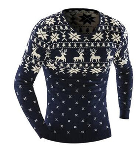 www.mensswaggerapparel.com Quick shipping low prices men's sweaters Winter Animal Print Sweater Men Leisure Slim Pull Homme V-Neck Sweater Blue