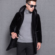 www.mensswaggerapparel.com Quick shipping low prices Winter Coats And Jackets KUYOMENS Winter Men's Genuine Real Sheepskin Leather Wool Fur Coat Jacket with a Hood Black