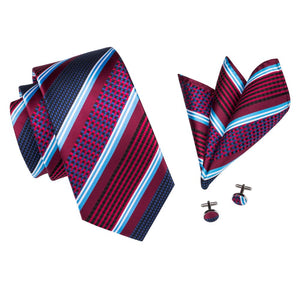 www.mensswaggerapparel.com Quick shipping low prices men's ties & bow ties Striped Gravatas Tie With Hanky Cufflinks Jacquard Woven Tie Set Men's Formal Business Wedding Party