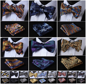 Floral Paisley Striped Silk Jacquard Woven Men Butterfly Self Bow Tie BowTie Pocket Square Handkerchief Hanky Suit Set G6