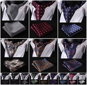 www.mensswaggerapparel.com Quick shipping low prices men's ties & bow ties Classic Pocket Square Wedding Floral &Paisley & Plaid& Polka Dot Men Silk Cravat Ascot Tie Handkerchief Set #B2