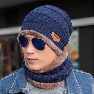 www.mensswaggerapparel.com Quick shipping low prices men's Hat's Neck warmer winter hat knit cap scarf cap Winter Hats knitted hat men Blue