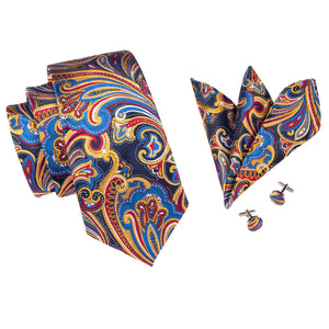 www.mensswaggerapparel.com Quick shipping low prices men's ties & bow ties Silk Mens Ties Floral Paisley Jacquare Woven Ties For Men 8.5cm Formal Suit Neck Tie Square Cufflinks Necktie