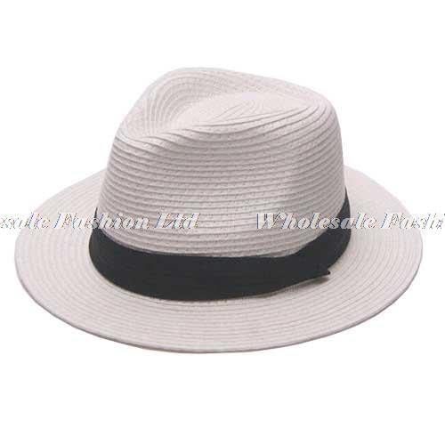 www.mensswaggerapparel.com Quick shipping low prices men's Hat's   8pcs/Lot Quality Solid Color Paper Straw Fedora Hats for Men Black Straw Caps With Ribbon Ladies Summer Fedoras Caps