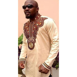 www.mensswaggerapparel.com Quick shipping low prices Traditional African Attire African Cotton Big Ethnic Style Of Printing Collar Long Sleeve T-shirt