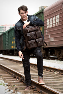 MSA Signature LAPOE Brand Design Men Genuine Leather Backpack Crazy Horse Vintage Daypack