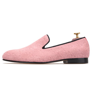 pink color handmade men velvet dress shoes with floral printing luxurious Wedding men loafers Leather sole smoking slipper