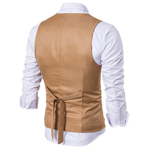 www.mensswaggerapparel.com Quick shipping low price men's vest suit & suit jackets Vest Men's Fashion Leisure Pure Color Single Breasted Straight Tube Type V Collar Basic Gentleman