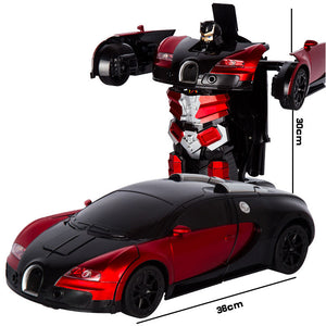 www.mensswaggerapparel.com Quick shipping low prices men's Gifts & Gadgets 2.4G Deformation RC Cars Transformation Robot Car Toy Light Electric Robot Models
