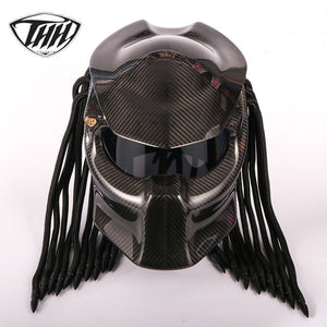 www.mensswaggerapparel.com Quick shipping low prices Biker Apparel & Accessories Predator Carbon Fiber Motorcycle Helmet Full Face Iron Warrior Man Helmet DOT Safety Certification High Quality Black Colorful