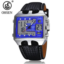 www.mensswaggerapparel.com Quick shipping low prices Men's Watches & Accessories Digital Quartz Watch Men Blue Dial Leather Band 3ATM Waterproof Business Wristwatch Hombre