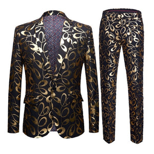 www.mensswaggerapparel.com Quick shipping low price men's vest suit & suit jackets Size 5XL Gold Floral Pattern Slim Fit Mens Suits With Pants Wedding Groom Tuxedo Singer Costume