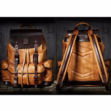MSA Signature Luxury Mens  Cow Leather Backpack  Leather Bag Simple Military