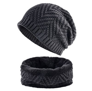 MSA Signature Men's Hat And Scarf Sets Winter Knitted Thick Bonnet Caps Men Add Velvet Beanies Hats Scarves Set Knitting Warm Skullies Gorro
