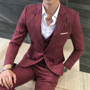 www.mensswaggerapparel.com Quick shipping low prices men's suits & suit jackets Jackets + Vest + Pants ) New Men's Fashion Boutique Striped Business Casual Suit Three-piece Groom Wedding Dress Suit Men