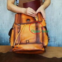 www.mensswaggerapparel.com Quick shipping low prices men's Leather Belts & Leather Bags Men Cow Leather large capacity backpack travel bag Classic business backpack Side can be opened Pentagram Schoolbag