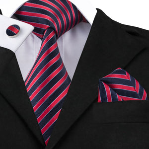 www.mensswaggerapparel.com Quick shipping low prices men's ties & bow ties Striped Mens Ties Fashion Red Silk Tie Pocket Square Cufflinks Set Ties for Men Businesss Wedding Party Tie