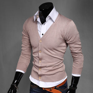 www.mensswaggerapparel.com Quick shipping low prices men's sweaters Pure Color Cotton Cardigan V-neck Formal Social Business Knitting A Sweater Male Sweater
