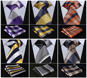 "www.mensswaggerapparel.com Quick shipping low prices men's ties & bow ties  Floral Striped Dot 3.4"" Silk Wedding Jacquard Woven Men Tie Necktie Pocket Square Handkerchief Set Suit"