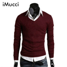 www.mensswaggerapperal.com Quick shipping low prices men's sweaters Thick Plush Wool California V-neck Sweater Wine Red