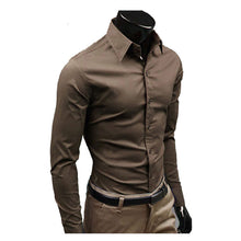 www.mensswaggerapparel.com Quick shipping low prices men's button down shirt British Style Long Sleeve Male Slim Casual Shirts Men's Business Shirt Coffee