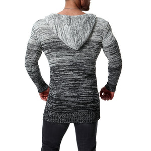 www.mensswaggerapparel.com Quick shipping low prices men's sweaters Moomphya Hooded men cardigan sweater Gradient color Knitted sweater men Streetwear hip-hop long style sweater coat suitor hombre