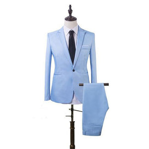 www.mensswaggerapparel.com Quick shipping low price men's vest suit & suit jackets Casual Suits Slim Fit Formal Business Best Man 2 Piece Blazer Jacket+Pant