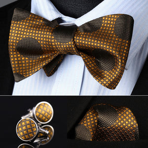 www.mensswaggerapparel.com Quick shipping low prices men's ties & bow ties Orange Brown Dot Men Silk Self Bow Tie handkerchief Cufflinks set Pocket Square Classic Party Wedding