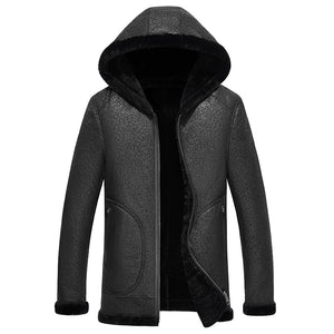 www.mensswaggerapparel.com Quick shipping low prices Winter Coats And Jackets Men Black Sheepskin Pilot Jacket Winter Genuine Leather Jackets