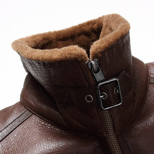 www.mensswaggerapparel.com Quick shipping low prices Winter Coats And Jackets Winter Bomber Jacket  Fur Collar Genuine  Sheepskin Leather