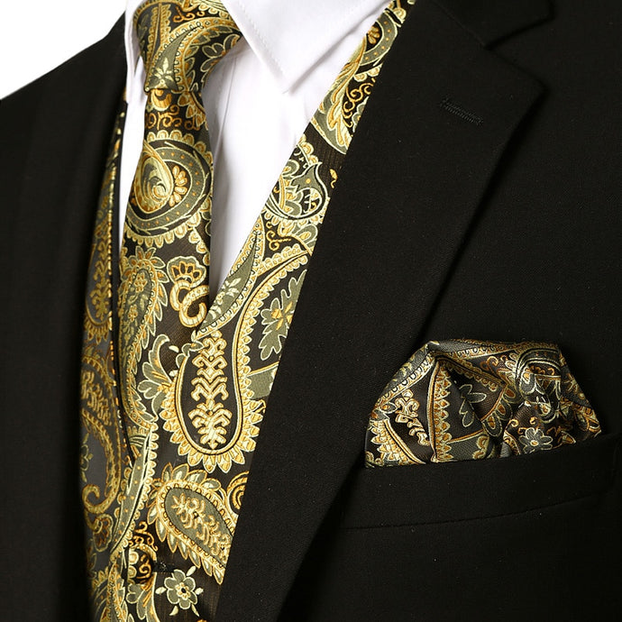 www.mensswaggerapparel.com Quick shipping low prices men's ties & bow ties Paisley Waistcoat Vest Necktie Pocket Square Set New Business Wedding Tuxedo Suit Dress Vest for Men Chaleco Hombre