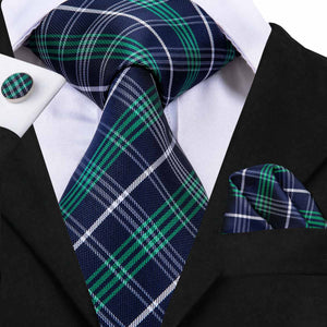 www.mensswaggerapparel.com Quick shipping low prices men's ties & bow ties Hi-Tie Designer Brand Men's Tie Set Blue Green Plaid Neckties For Men Silk Jacquard Woven Gravatas Wedding Tie SN-3044