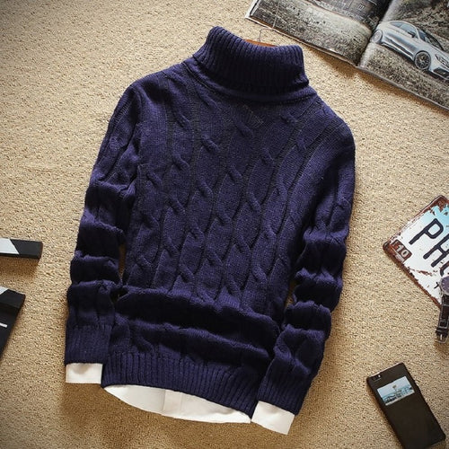 www.mensswaggerapparel.com Quick shipping low prices Men's Sweaters Thick Sweater Men Turtleneck Slim Fit Knitting Men's Christmas Sweater High Quality Keep Warm Pullover Men