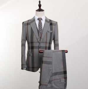 www.mensswaggerapparel.com Quick shipping low price men's vest suit & suit jackets Plaid 3 PCS Men's Suits Wedding Groom Plus Size Slim Fit