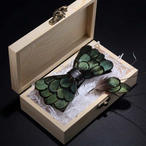 www.mensswaggerapparel.com Quick shipping low prices men's ties & bow ties Green Birds Feather Bow Tie Natural Hand Made Bowtie Brooch With Wood Gift Box Set For Men Business Party Wedding