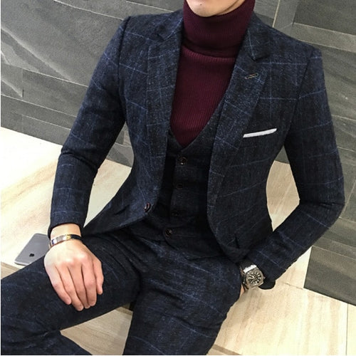 MSA Signature 3 Piece Men Britishs Designs Men's Royal Blue Suit Thick Slim Fit Plaid  Autumn Winter