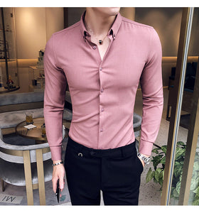 MSA Signature autumn exquisite solid color shirt British gentleman long-sleeved business anti-wrinkle men's slim shirt